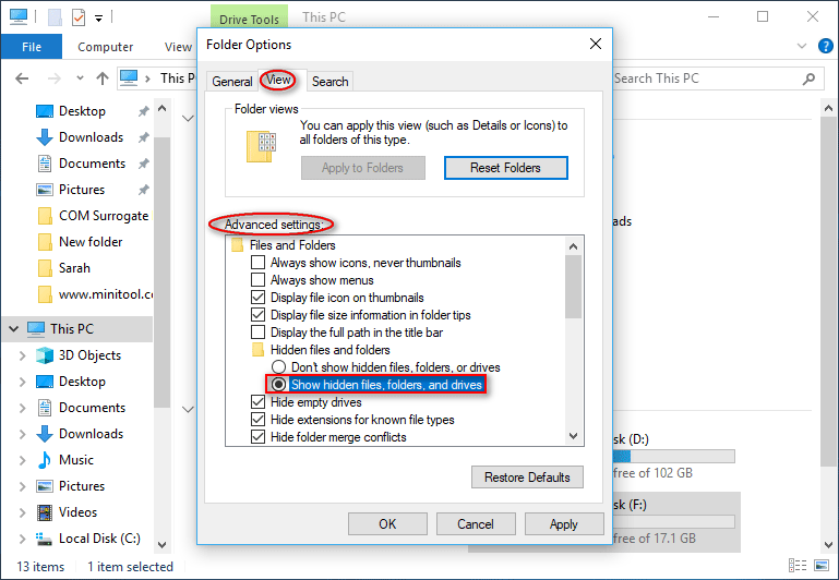 Show hidden files, folders, and drives