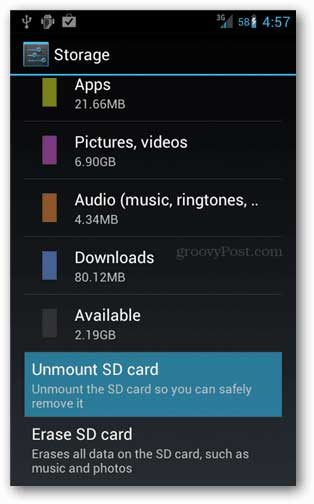 unmount SD card