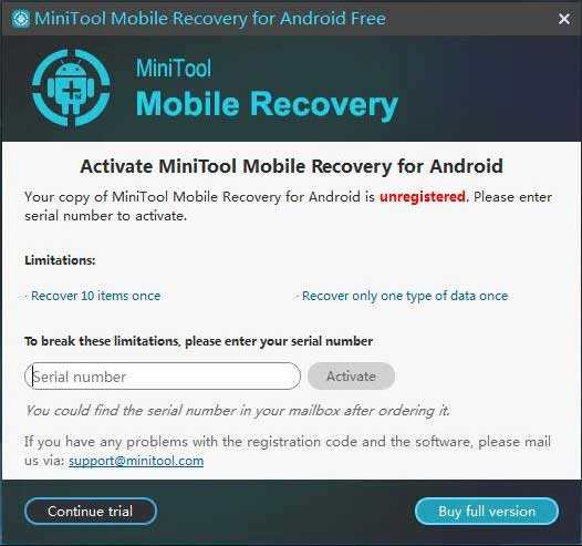 register MiniTool Mobile Recovery for Android Free