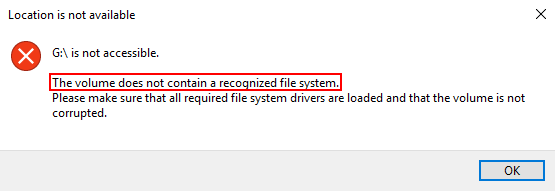 volume doesn't contain a recognized file system