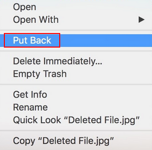right click on files and choose Put Back