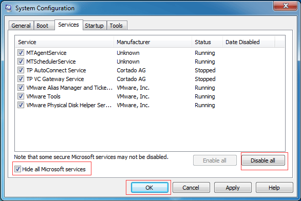 check hide all Microsoft services and Disable all to continue