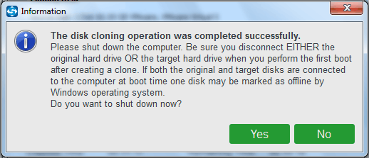 disk cloning operation is completed successfully