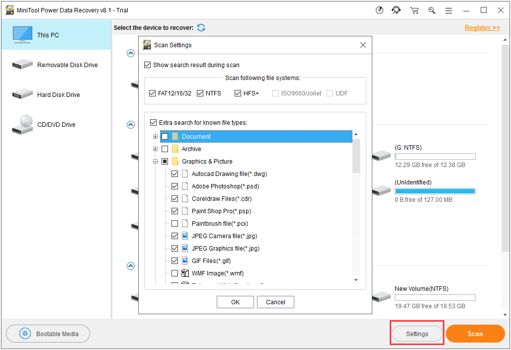 use Settings to choose the file types you want to recover
