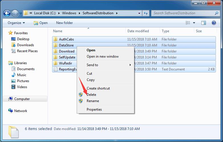 フォルダ内のすべてのファイルを選択し、[削除]をクリックして次に進みます