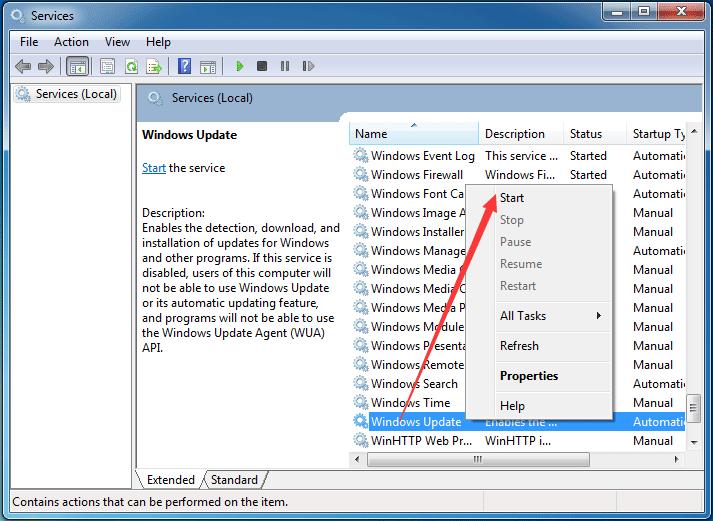 スタートをクリックしてWindows Updateサービスを再起動します