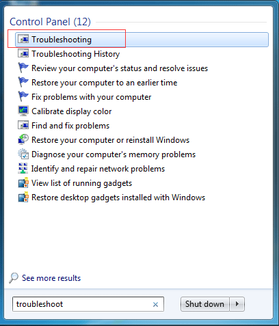 choose Troubleshooting to continue