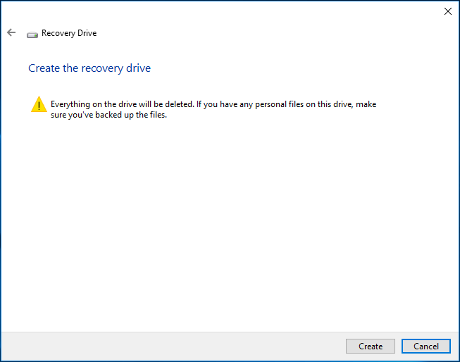 creating recovery drive deletes everything