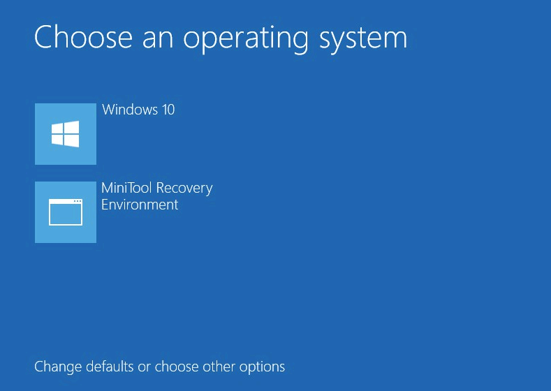 MiniTool Recovery Environment in Windows startup menu