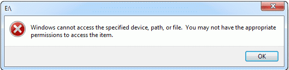 windows cannot access the specified device or path