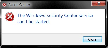 the Windows Security Center service can't be started