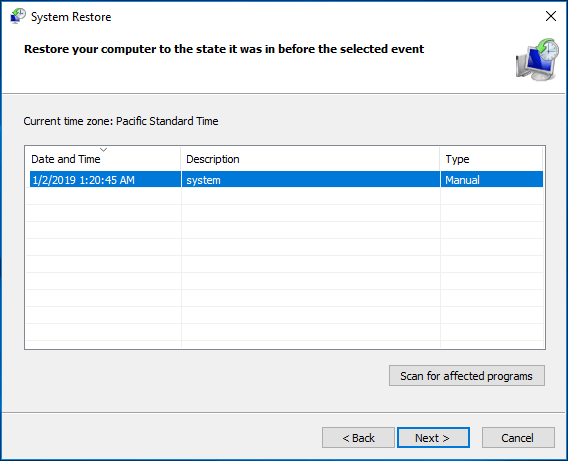 system restore in Windows 10