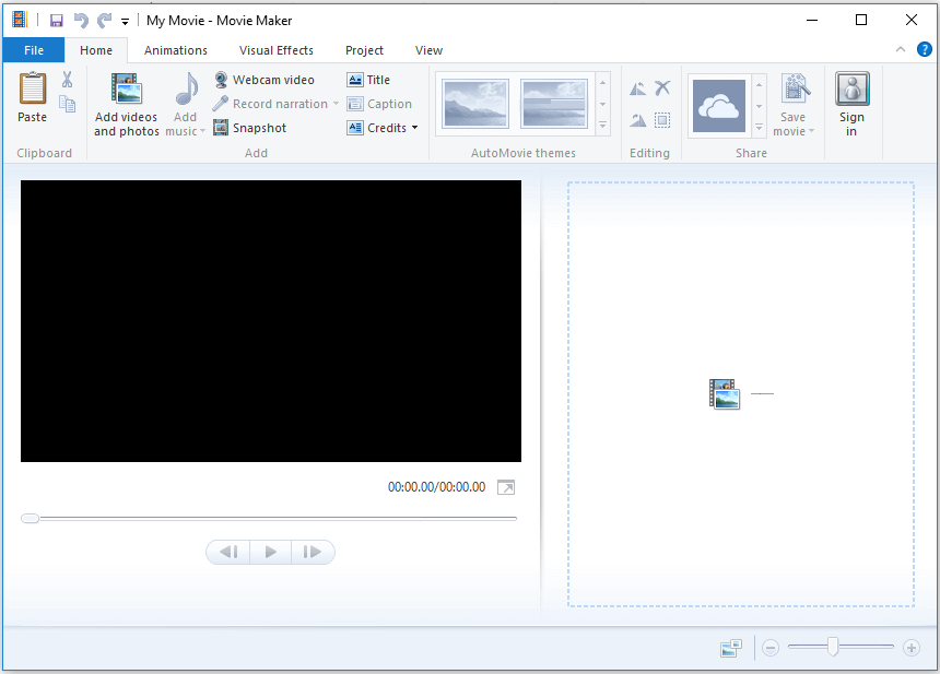 the main interface of Windows Movie Maker