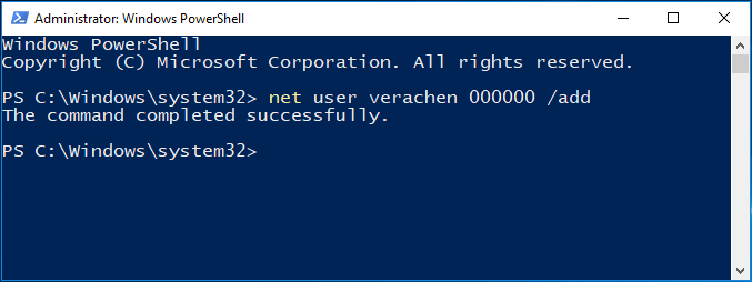 use powershell to create a new account