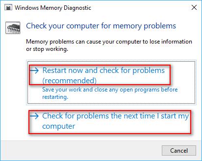 Windows Memory Diagnostic options