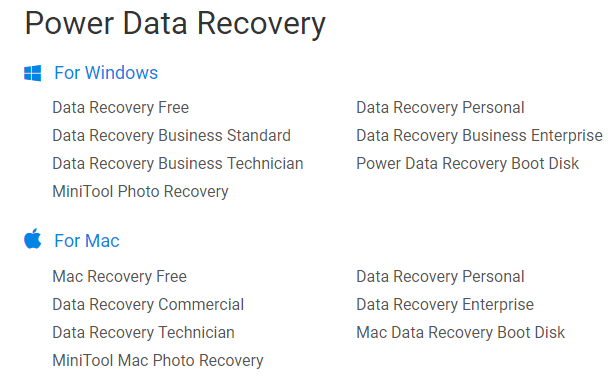 MiniTool Power Data Recovery Editions