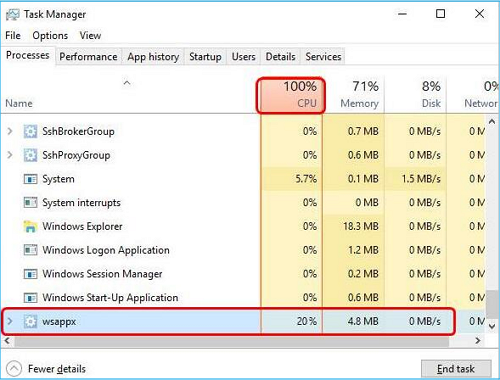 end the task that causes high CPU usage