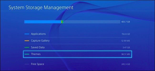 System Storage Management window of PlayStation