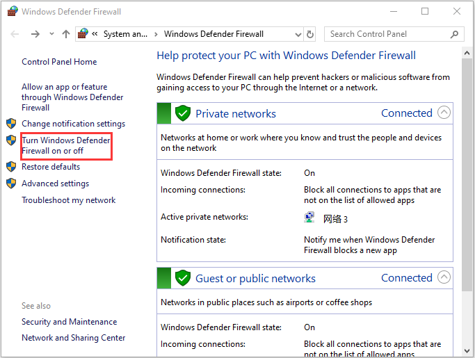 Turn Windows Defender on or off