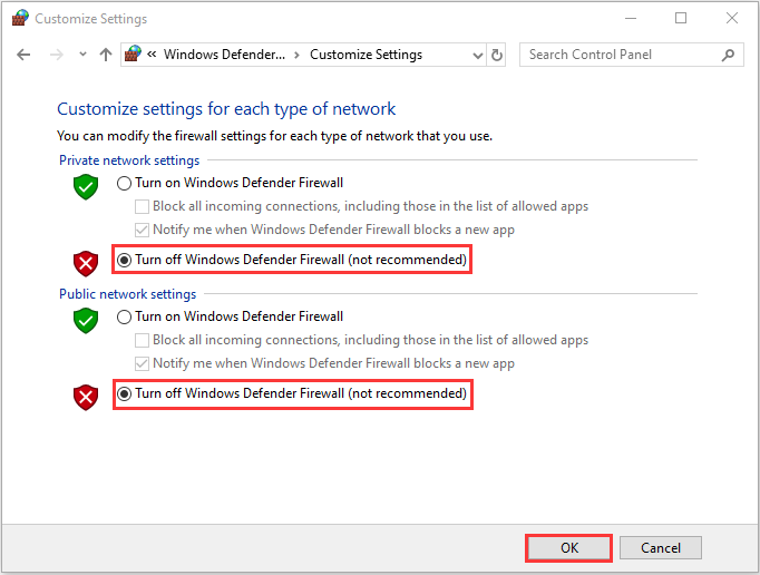 Turn off Windows Defender Firewall not recommended options