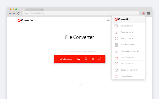 the interface of Convertio