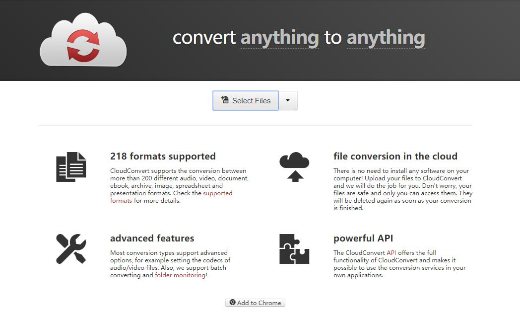 the interface of CloudConvert
