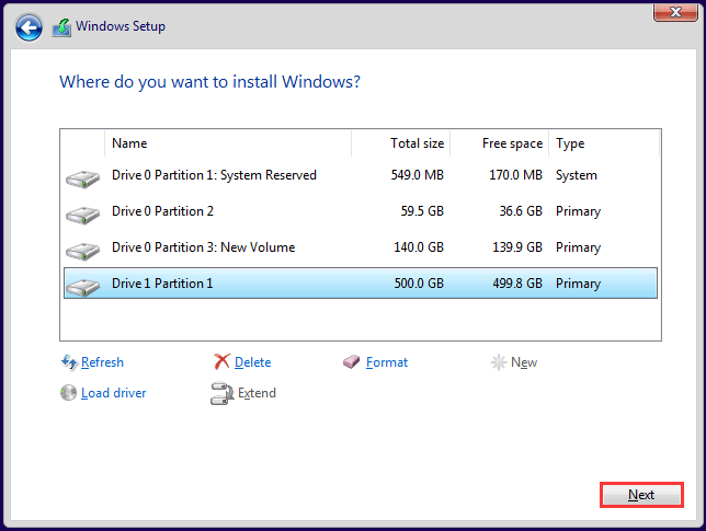 select the drive to install Windows 10