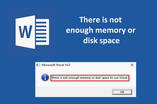 there is not enough memory or disk space word thumbnail