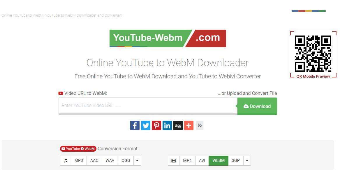 the interface of YouTube-WebM.com
