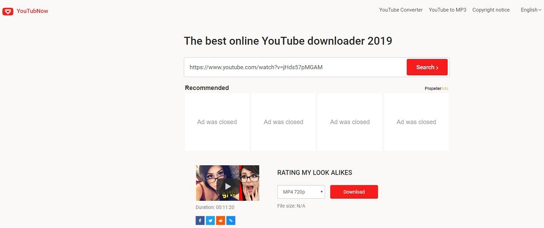 the interface of YouTubNow