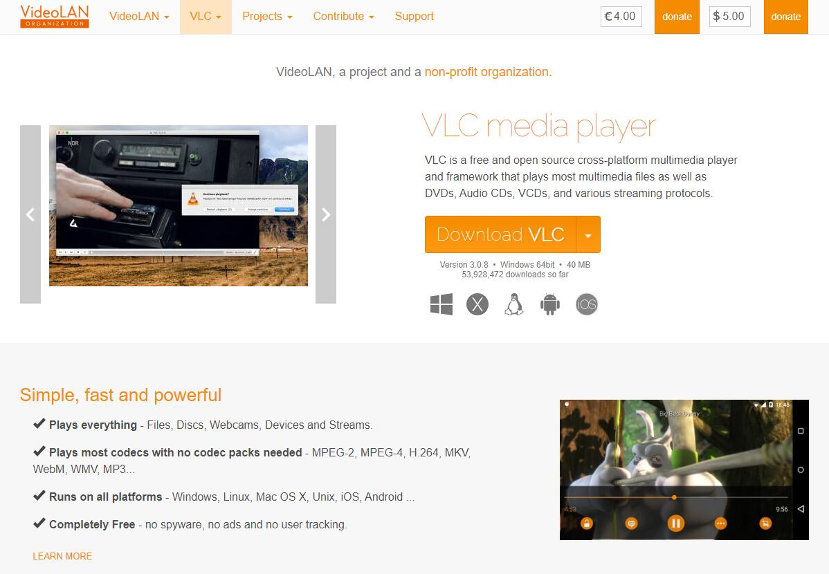 the download page of VCL Media Player