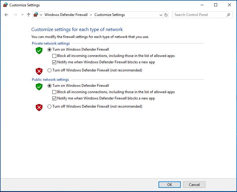 Windows Defender Güvenlik Duvarını aç