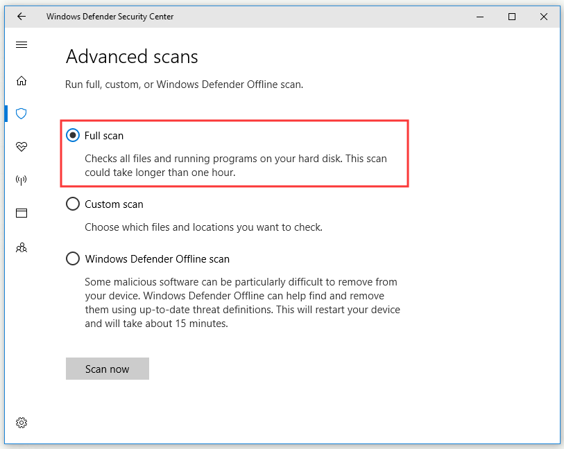 perform Full scan with Windows Defender