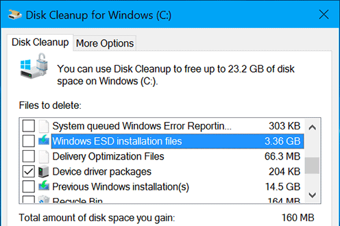 Windows ESD installation files in Disk Cleanup