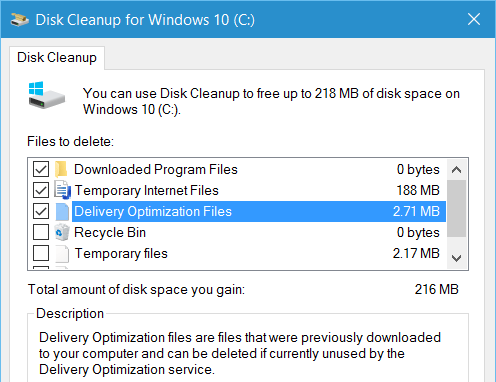 Delivery Optimization File in Disk Cleanup