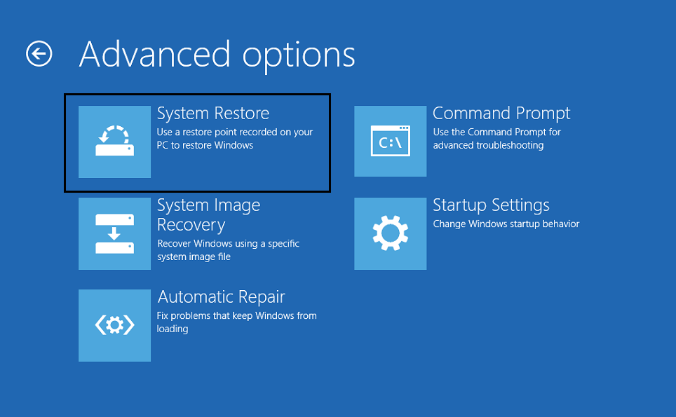 choose System Restore in Advanced options