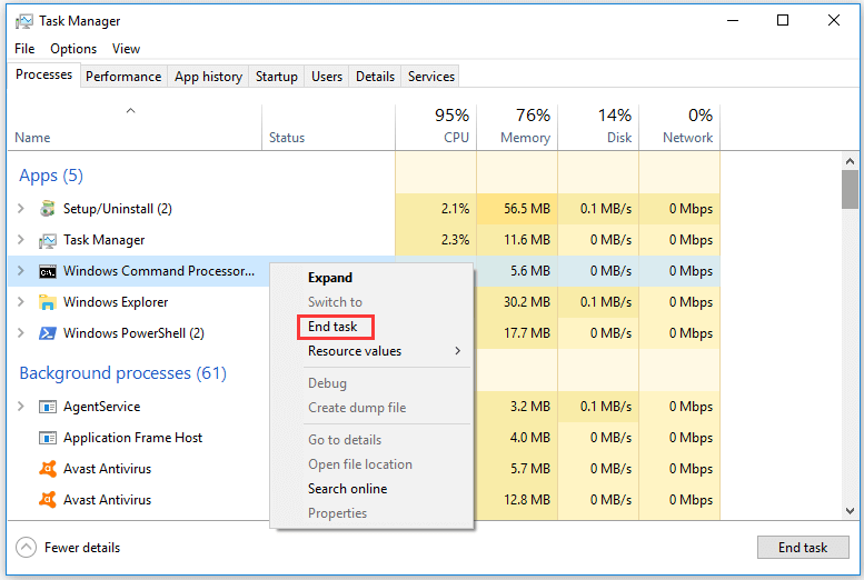 fix Command Prompt not responding in Task Manager