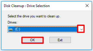 select the drive that you want to clean up