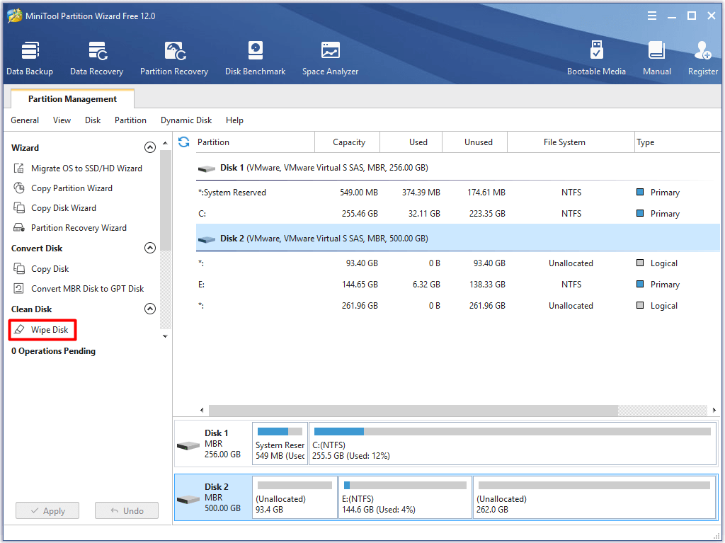 select the drive to clean and choose wipe disk