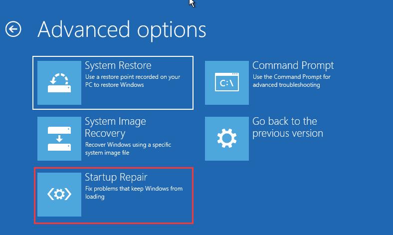 click Startup Repair