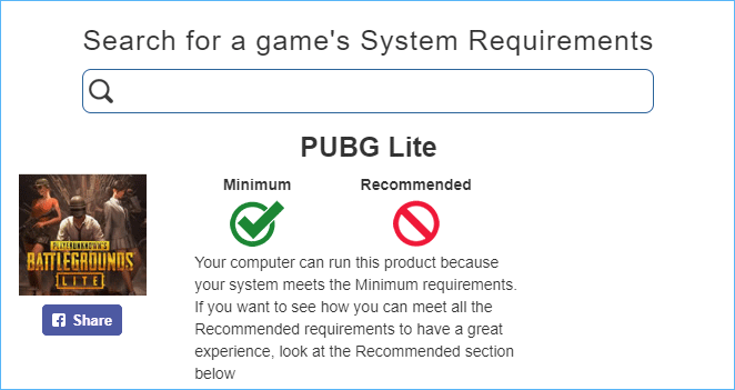PUBG system requirements test result