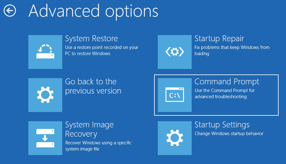 click Command Prompt in Advanced options