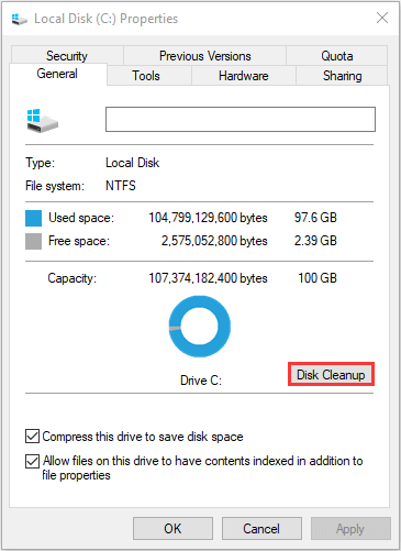 click Disk Cleanup