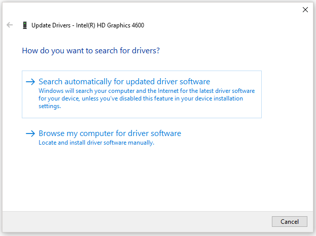 two options for searching for drivers