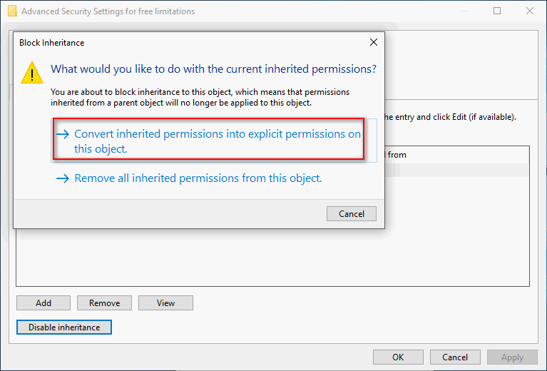 Convert inherited permissions