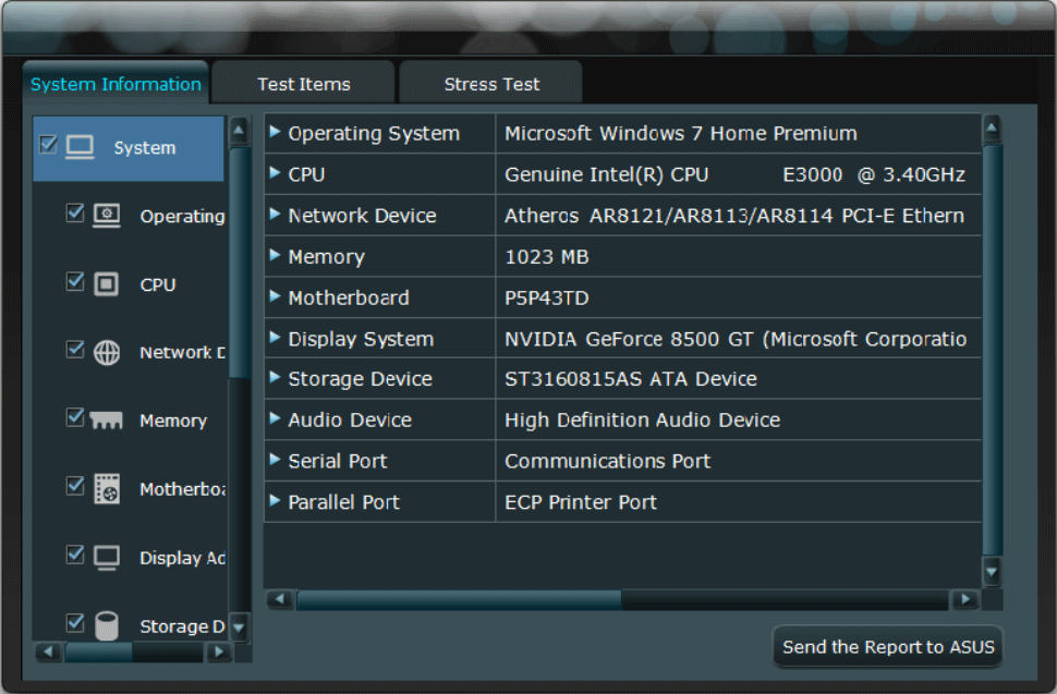 System Information of ASUS PC Diagnostics