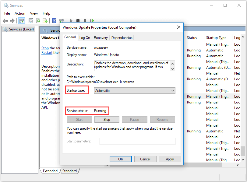 change startup type to automatic and service to running