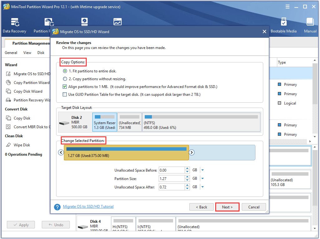 choose copy options and partition size