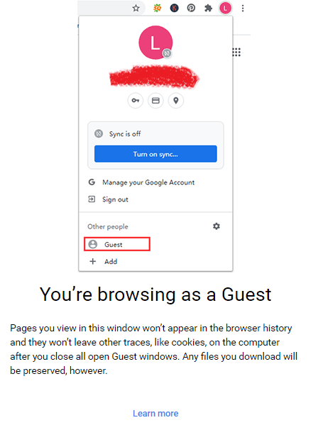 enable and turn off the Guest Mode