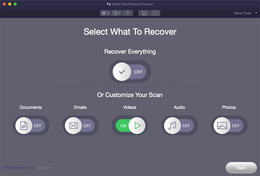 select the data types you want to recover